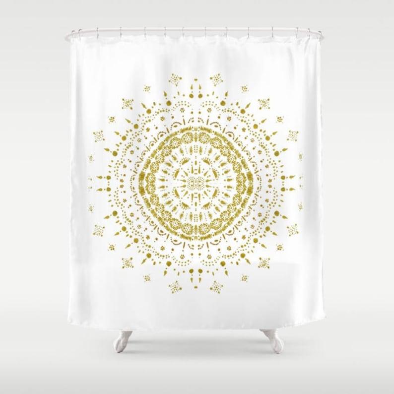 Gold White Shower Curtain Gold Shower Curtain White Shower Etsy
