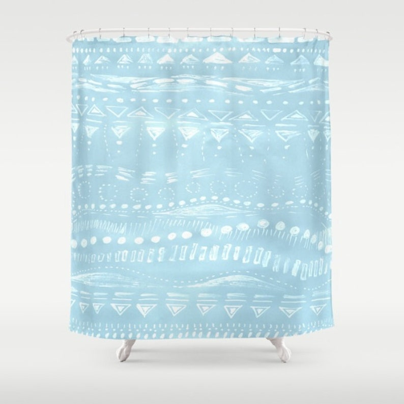 Blue Geometric Shower Curtain Light