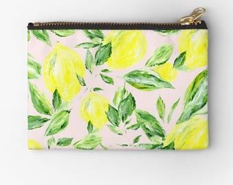 Blush Pink Lemon Pouch, lemon makeup bag, pink makeup bag, blush pink pouch, pink lemon pouch, bridesmaid pouch