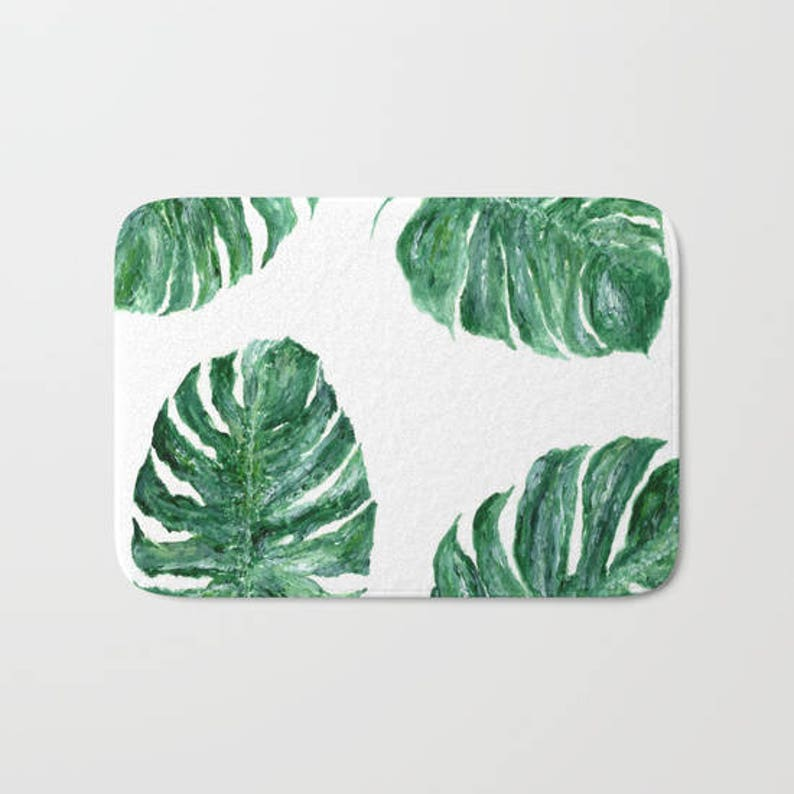 monstera leaf bath mat tropical leaf mat tropical bath mat etsyimage 0