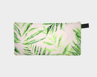 Pink Palm Leaf Pouch, palm leaf pouch, blush pink pouch, pink pencil pouch, pink makeup bag, pink palm leaf, tropical leaf pouch