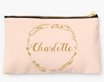 Blush Pink Gold Personalized Pouch, Makeup Bag, personalized pouch, bridesmaid pouch, blush pink pouch, blush gold pouch, custom name pouch