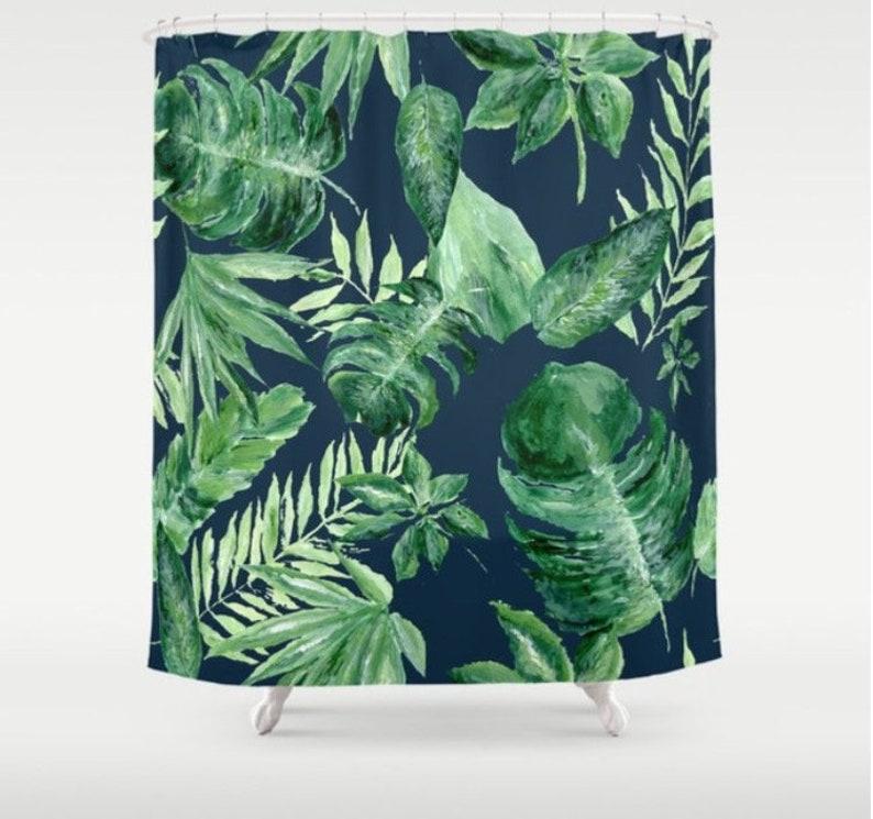 Blue Palm Leaf Shower Curtain Tropical