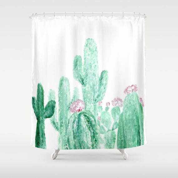 Cactus Shower Curtain White