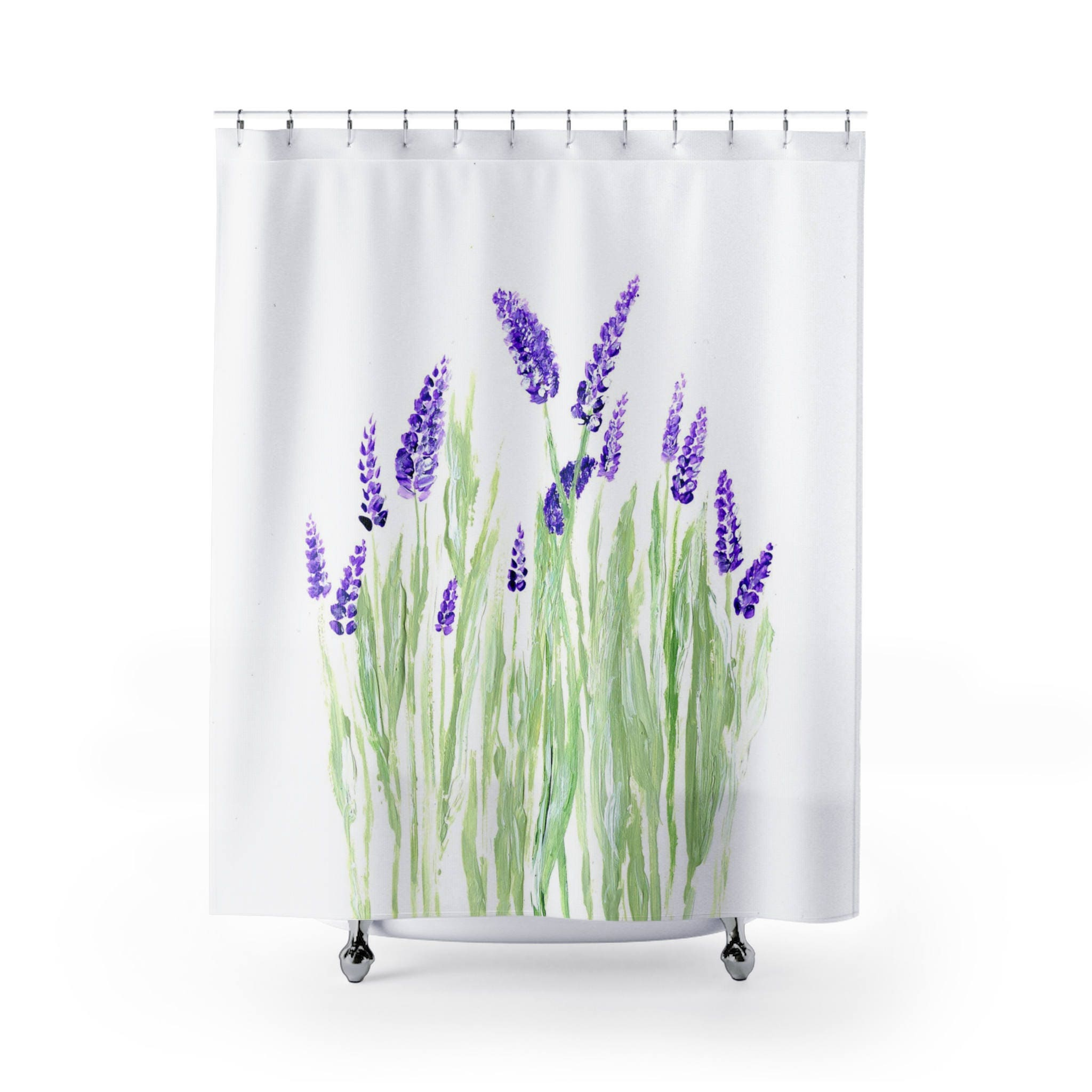 Lavender Shower Curtain lavender curtain floral shower | Etsy