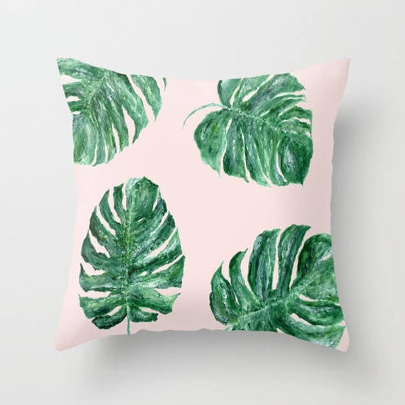Fabulous Pink Leaf Throw Pillow Monstera Pillow Monstera Leaf Palm Leaf Pillow Pink Leaf Pillow Tropical Leaf Pillow Blush Pink Pillow Ocoug Best Dining Table And Chair Ideas Images Ocougorg