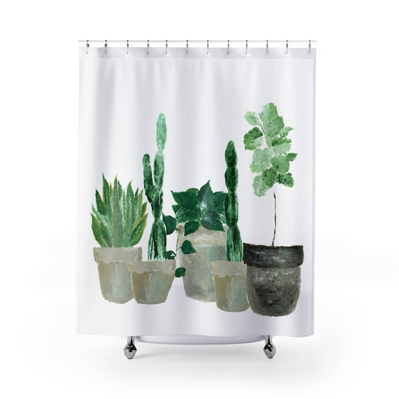 Plant Shower Curtain Cactus Green