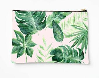 Pink Palm Leaf Makeup Bag, palm leaf pouch, pink makeup bag, palm leaves pouch, bridesmaid pouch, blush pink pouch, tropical leaf pouch