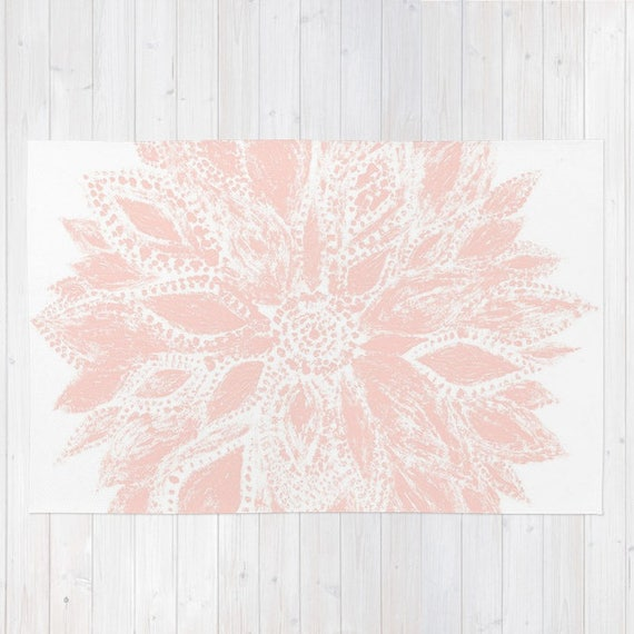 Blush pink flower area rug blush pink rug light pink rug etsy image 0 mightylinksfo