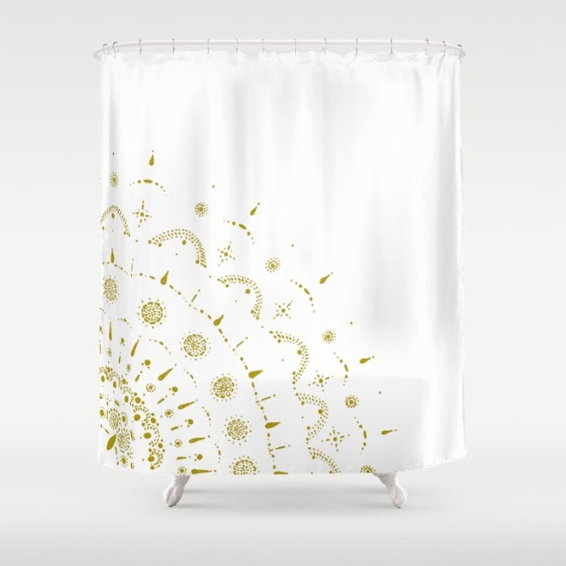 Gold White Shower Curtain