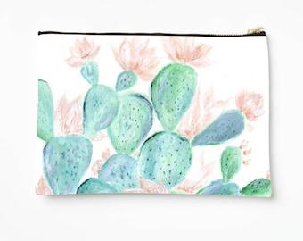 Cactus Pouch, floral pouch, floral makeup bag, cactus makeup bag, succulent pouch, succulent bag