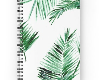 Palm Leaf Notebook, tropical notebook, botanical notebook, spiral notebook, palm leaf journal, palm leaves, tropical leaf, white notebook