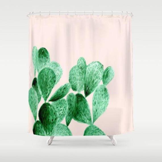 Pink Cactus Shower Curtain Cactus Shower Cactus Curtain | Etsy