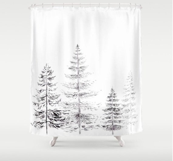 Pine Tree Shower Curtain Black White Shower Curtain Black Etsy