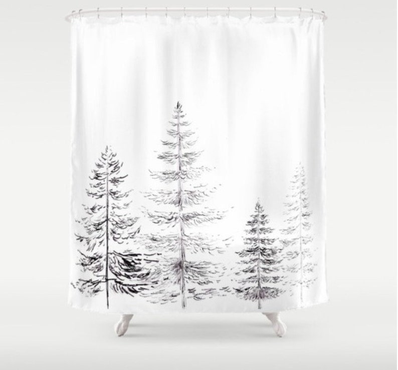 Pine Tree Shower Curtain Black White