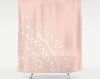 Blush Pink Shower Curtain  Pink Shower Curtain Blush Pale Cactus Cactus
