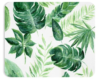 Palm Leaf Mousepad, leaf mousepad, palm mousepad, green mousepad, leaf mouse pad, palm leaf, tropical leaf, tropical mousepad