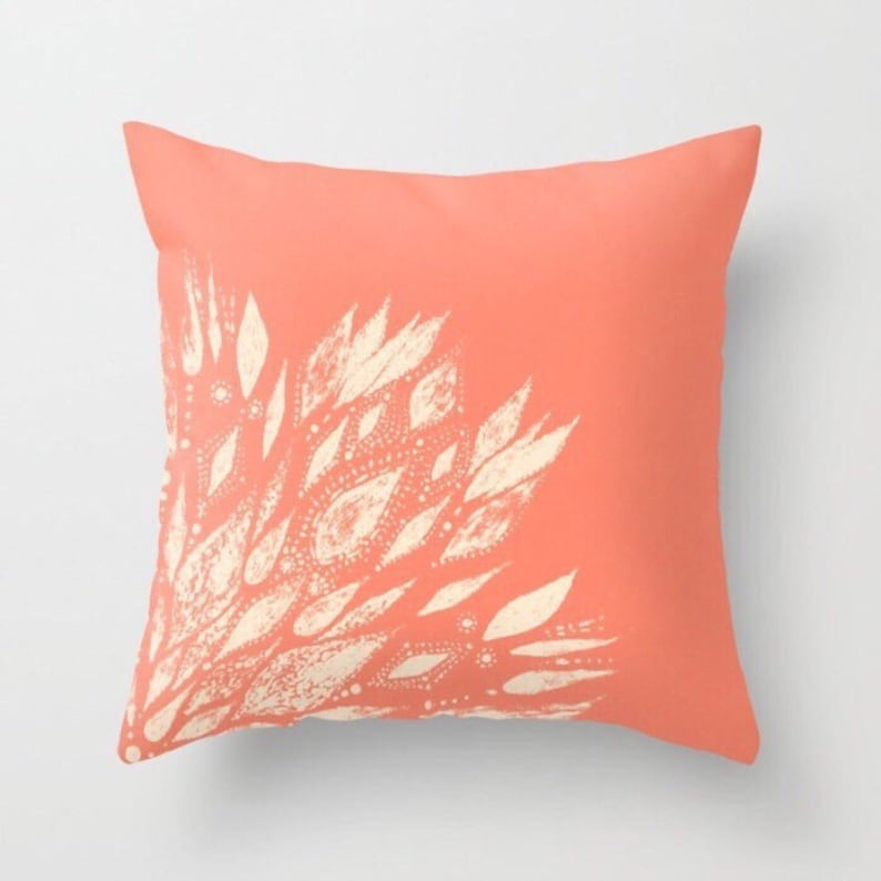 Coral Pink White Modern Outdoor Throw Pillow Modern Flower Etsy