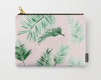 Blush Pink Palm Leaf Pouch, pink palm leaf pouch, palm leaves pouch, blush pink pouch, pink makeup bag, pink palm leaf bag, blush makeup bag