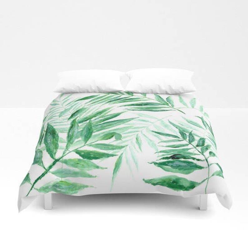Palm Leaf Duvet Cover Palm Leaf Duvet Tropical Duvet Cover Etsy