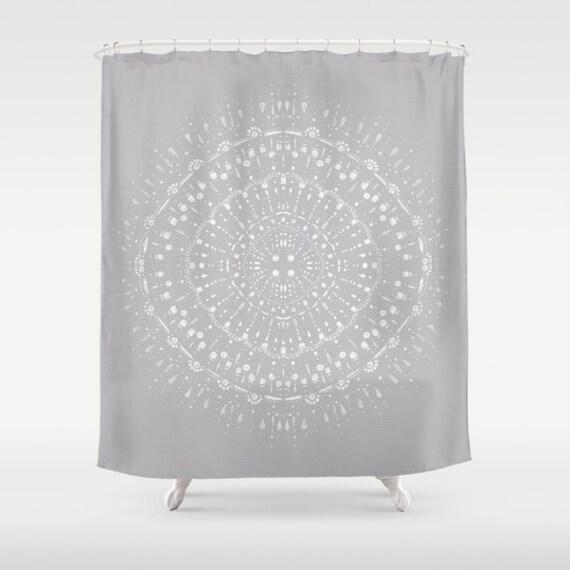 Light Grey White Shower Curtain Gray