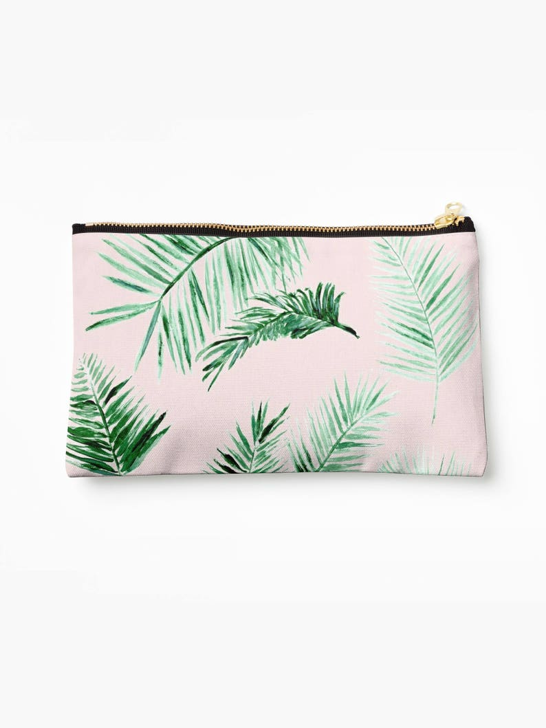 Pink Palm Leaf Makeup Bag palm leaf pouch pink makeup bag palm leaves pouch bridesmaid pouch blush pink pouch