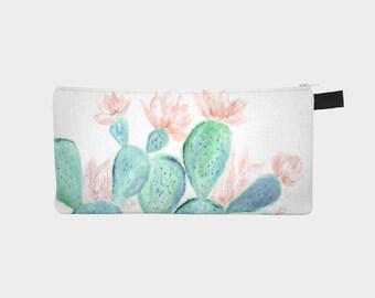 Floral Cactus Pencil Pouch, cactus pencil pouch, succulent pouch, floral pouch, cactus makeup bag, succulent bag, floral makeup bag
