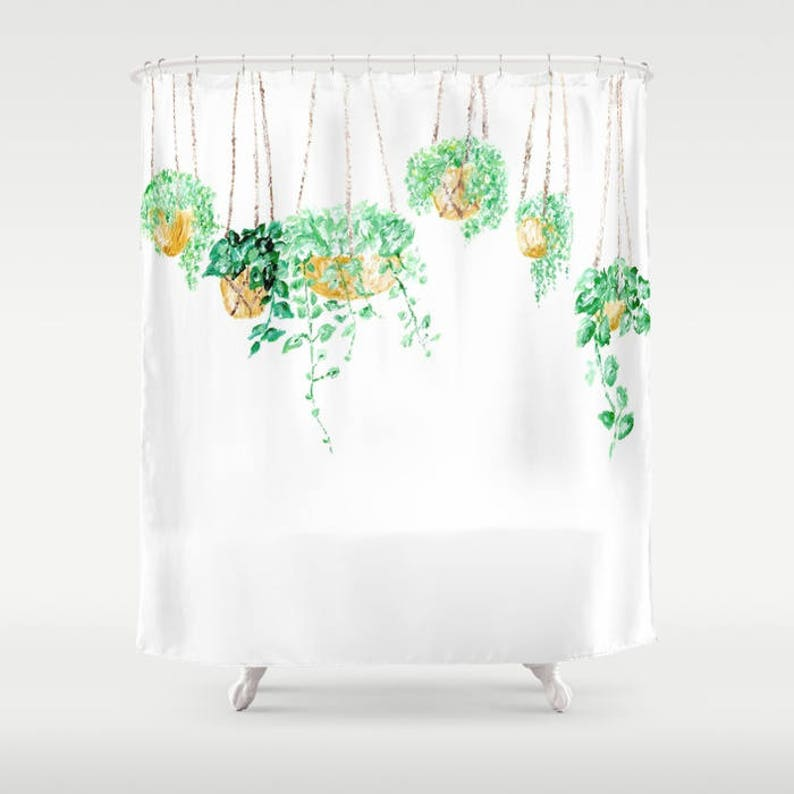 Hanging Plant Shower Curtain Green White Gold