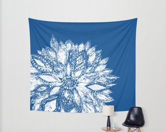 Blue Flower Tapestry, dorm room decor, blue floral tapestry, blue wall tapestry, blue white tapestry, blue flower tapestry