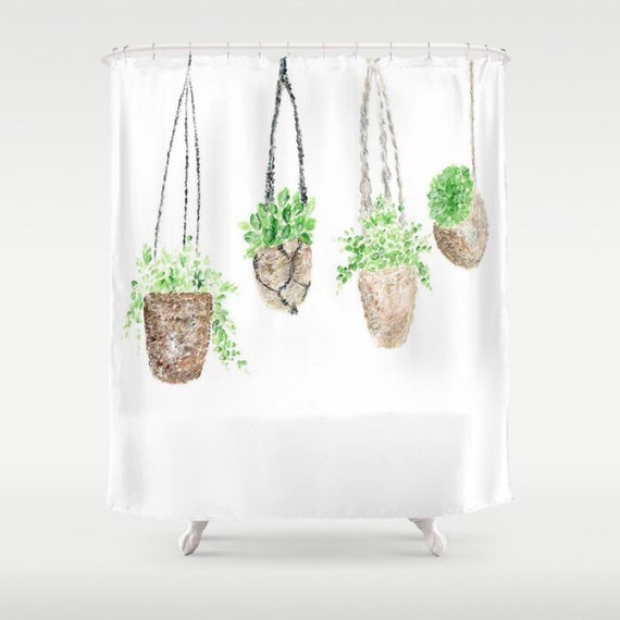 Hanging Plant Shower Curtain Botanical Green White Cactus