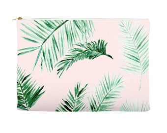 Pink Palm Leaf Pouch, blush pink pouch, pink cosmetic pouch, blush makeup bag, pink makeup bag, palm leaf pouch, palm leaf bag