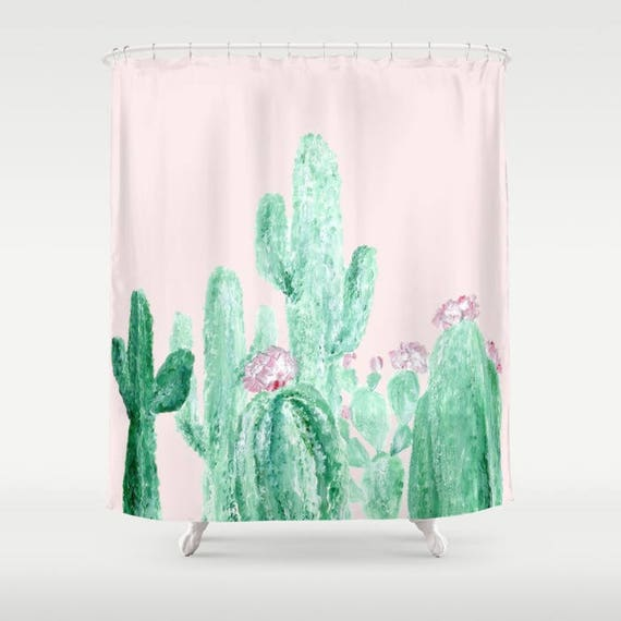 Blush Pink Cactus Shower Curtain Cactus Shower Cactus | Etsy