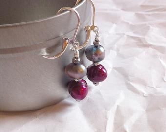Freshwater Pearl Earrings Purple and Gray