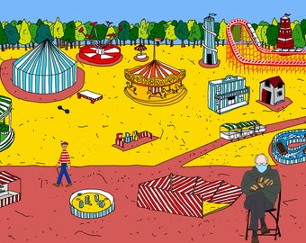 Bernie and Waldo at the Amusement Park