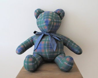 4e39455406e Vintage Plaid Teddy Bear Handmade Mid Century HIPSTER TEDDY Gender Neutral  Keepsake Gift for Nursery Kids Babies