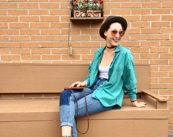 90s Actif Turquoise Button Down Shirt, Blue Green Basic Long Sleeve Top, Women's US Size 8-10 Medium