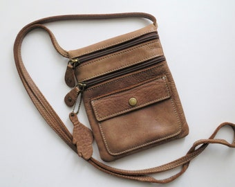 Vintage Roots Purse Small Tan Brown Travel Bag Crossbody Pouch for Cards, Keys, Passport, Coins, Made in Canada