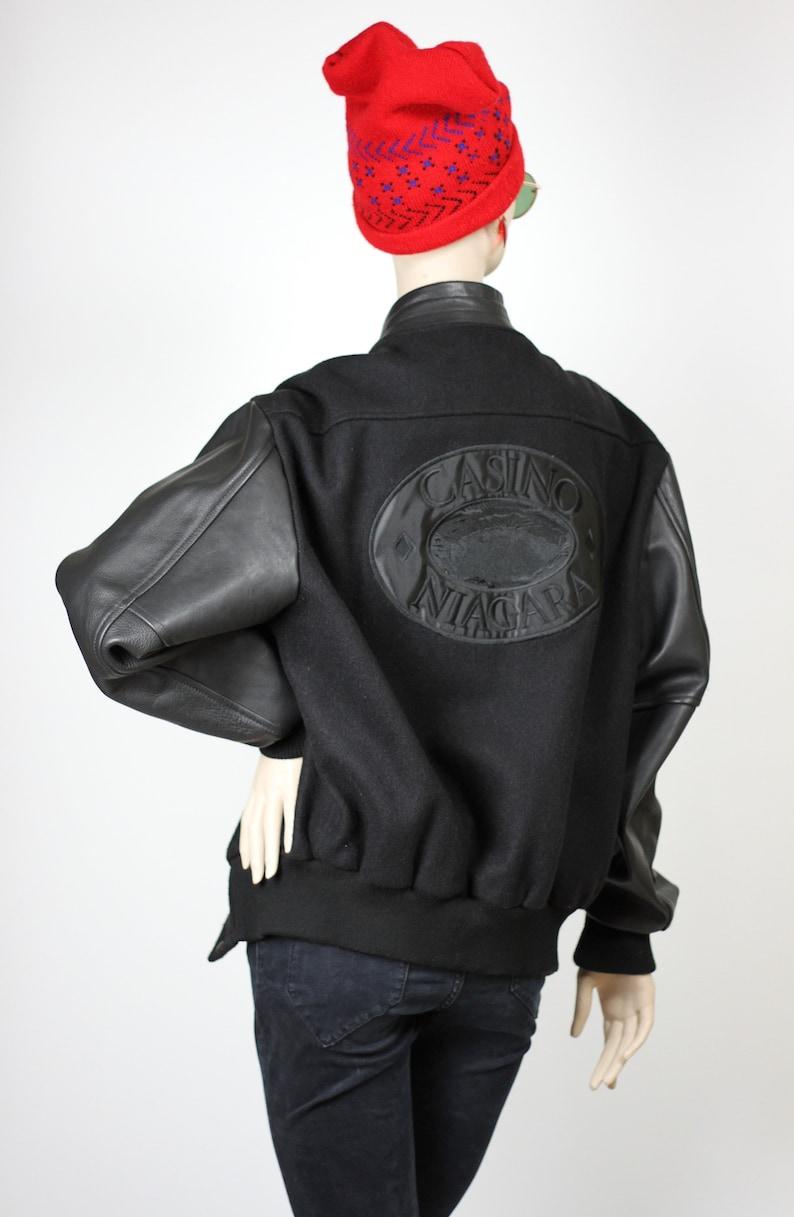 Made in Canada Vintage Varsity Jacket Black Wool and Leather Casino Niagara Black Winter Jacket Unisex Medium Men/'s Wool Jacket