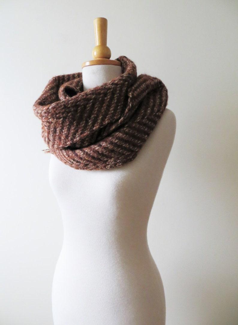 512485cfb 80s Mahogany Knit Scarf Wool Zig Zag Print Winter Accessories   Etsy