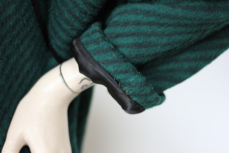 Women/'s Long Coat Made in Canada Striped Green and Black Coat Women/'s US Size 12 Large Vintage Wool and Mohair Trench Coat