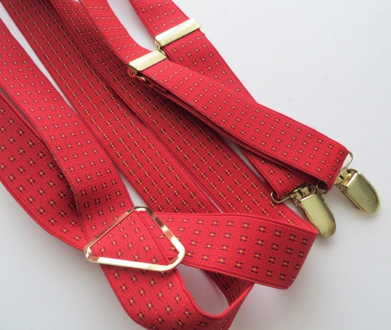 Unisex Adult Size Red Elastic with Gold Trouser Braces Dapper Wedding Same Sex Wedding Accessories 80s Clip Suspenders