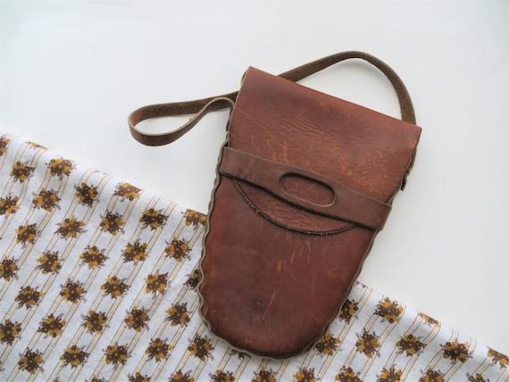 60s Leather Satchel, Rugged Distressed Hardshell B