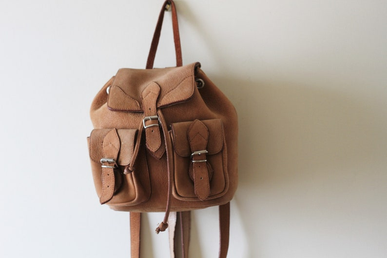 4c17a4b122 Vintage Leather Backpack Mini Rucksack
