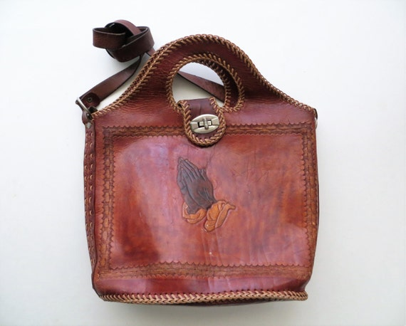 ffb37d7435fe 80s Praying Hands Leather Bag Crossbody Satchel Albrecht