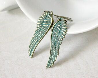 Turquoise Feather Earrings - Verdigris Earrings - Angel Wing Earrings - Long Lightweight Earrings - Rustic Jewelry - Boho Earrings