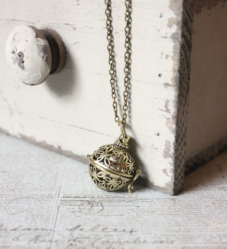 Ball Locket with Butterfly Design Essential Oil Diffuser Necklace Prayer Box or First Tooth Keeper for Mom Jewelry Gift for Women