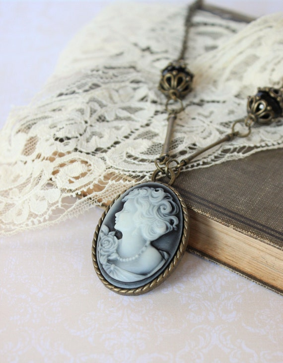 Steel Cameo Necklace Lady Cameo Necklace Engraved Cameo Victorian Style Victorian Cameo Necklace Romantic Style Romantic Necklace