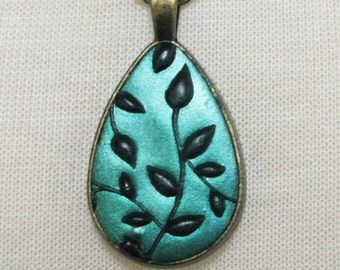 Teal Blue Black Ivy Leaves Design, Antique Gold Teardrop Pendant Polymer Clay Jewelry