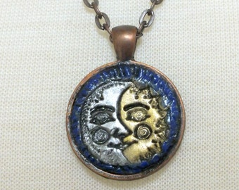 Celestial Sun and Moon Metallic Silver and Gold Midnight Blue Antique Copper Pendant Necklace, Astrology Zodiac Polymer Clay Jewelry