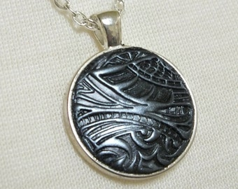 Futuristic Geometric Alien Shapes Abstract Zentangle Steampunk Black and Silver Unisex Pendant Necklace, Polymer Clay